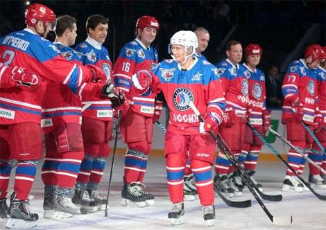 Kết quả hình ảnh cho Putin chơi khúc côn cầu mừng sinh nhật